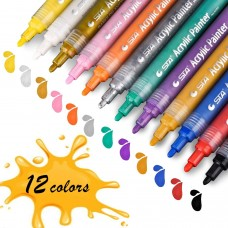 STA 12 Colors Acrylic Paint Marker Pens for Rock,Wood,Ceramic,Glass,Easter Egg