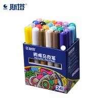 STA Acrylic Paint Pens 24 Colors Art Permanent Markers for DIY Glass,Ceramic,Rock,Wood,Canvas