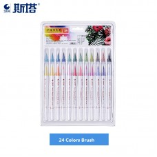 STA Real Brush Pens 24 Colors for Watercolor Painting with Flexible Nylon Brush Tips